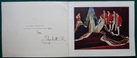 Antique Signed Christmas Card from Queen Elizabeth Queen Mother Coronation Queen Elizabeth II